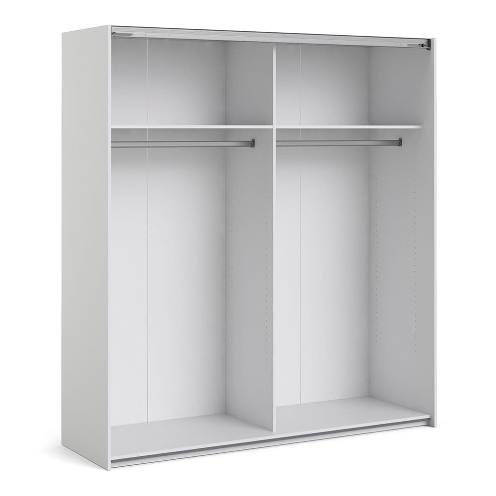Valerian Sliding Wardrobe 180cm in White with White and Truffle Oak Doors with 2 Shelves in White
